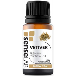 Vetiver Essential Oil by SenseLAB 100% Pure Essential Oil, Natural and Undiluted, Therapeutic Grade  Essential Oil 10ml Vetiver Oil