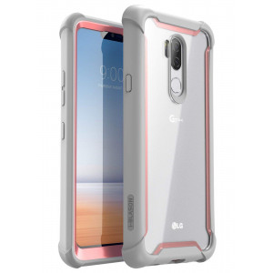 LG G7 Case, LG G7 ThinQ Case, i-Blason [Ares] Full-body Rugged Clear Bumper Case with Built-in Screen Protector for LG G7 (2018 Release) (Pink)