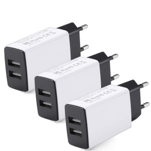 European Plug Adapter, USINFLY Universal Europe Travel Charger 3-Pack 2.0A/5V Europe Dual USB Wall Charger Block for iPhone X 8/7/6/6S Plus, iPad, Samsung Galaxy S8/S7/S6 Edge, Android Phone, and More