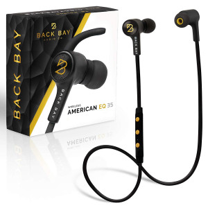 Back Bay - American EQ 35 - Wireless Bluetooth Earbuds. Sweatproof Stereo Headphones with 5 EQ Sounds Modes, 8-Hour Battery, Microphone, Magnet, 6 in-Ear Earphone Tips and Carrying Bag