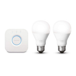 Philips Hue White A19 60W Equivalent Dimmable LED Smart Light Bulb Starter Kit (2 A19 60W White Bulbs and 1 Bridge, Compatible with Alexa, Apple HomeKit, and Google Assistant (Certified Refurbished)