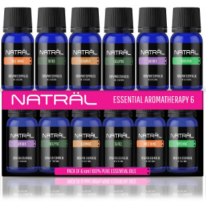 NATRL Essential Aromatherapy Set of 6, 100% Pure and Natural Essential Oil, 6/10ml Bottles