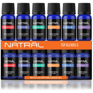 NATRL Top Blends Set of 6, 100% Pure and Natural Essential Oil, 6/10ml Bottles