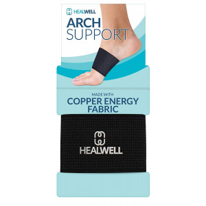 Healwell Plantar Fasciitis Arch Support Flat Foot Brace Copper Compression Shoe Insert Heel Spur Pain Relief Sleeves For Therapy and Exercise Men and Women - Pack of 2 ...