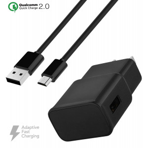 Verizon Kyocera DuraForce Pro Charger Fast Micro USB 2.0 Cable Kit by Ixir - (Fast Wall Charger + Micro USB Cable)-BLACK