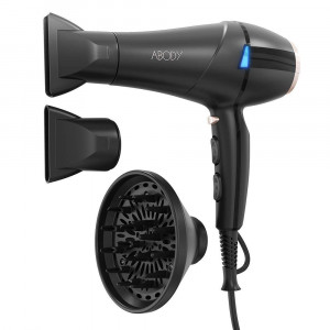 ABODY Hair Dryer 1875W, Professional Ionic Blow Dryer with Concentrators and Diffuser for Home and Salon Styling 2 Speed 3 Heat Settings (Black)