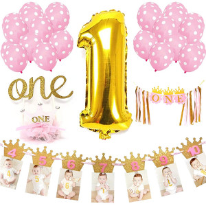 Baby Girl First Birthday Decorations Party Accessories and Supplies | 1st B-day Girls Decoration Set: Huge 1 Balloon, One Cake Topper, Photo Banner, Birthday Crown, Highchair Banner and Pink Balloons