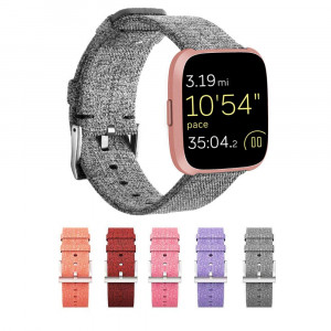 Compatible Woven Band for Fitbit Versa Band, Woven Fabric Wrist Strap Quick Release Watch Band with Classic Square Stainless Steel Buckle for Fitness Smart Watch (Grey)