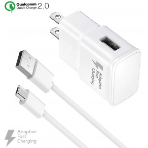 Galaxy S7 Adaptive Fast Wall Charger Micro USB Cable Set - Compatible Samsung Galaxy S7 Edge, Note 5, Note 4, Note Edge, S4, S6 Edge, HTC One M9, LG V10 by BoxGear (1 Quick Wall Charger + 1 Cable)