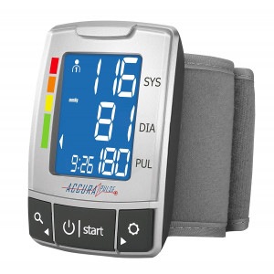 AccuraPulse Fully Automatic Portable Wrist Blood Pressure Cuff Monitor, Easy-to-Read LCD with Two User Memory Support and Hypertension Indicator and Irregular Heartbeat Detection