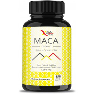 Organic Maca Root Powder Capsules Black, Yellow, Red -1000mg Serving Peruvian Maca for Men and Women, Superfood, Natural Energy Booster, 150 Vegan Pills Gelatinized + Black Pepper for Best Absorption