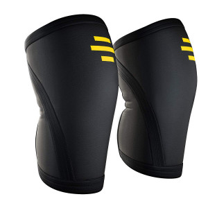 HoneyBull Knee Sleeve (1 Pair) Athletic Knee Brace for Jogging and Sports | Knee Compression Sleeve for Joint Pain, Arthritis, and Tendonitis | 7mm Neoprene Knee Sleeve  Large [Lifetime Warranty]