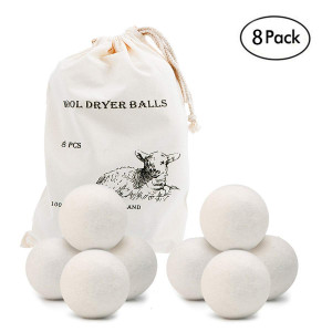 Wool Dryer Balls 8 Pack XL,OAMCEG Premium Reusable Natural Fabric Softener,Eco Laundry Balls,Wool Dryer Sheets,Clothes Dryer Balls.