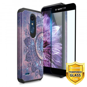 TJS LG K10 2018/K30/Premier Pro LTE/Harmony 2/Phoenix Plus Case, with [Tempered Glass Screen Protector] Ultra Thin Slim Hybrid Shockproof Protection Rugged Phone Case Cover (Mandala)