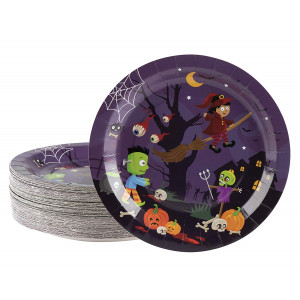 Disposable Plates - 80-Count Paper Plates, Halloween Party Supplies for Appetizer, Lunch, Dinner, and Dessert, Witch and Monsters Design, 9 Inches Diameter