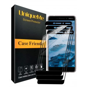 [3 Pack] INGLE Compatible with Nokia 6.1 / Nokia 6 2018 Screen Protector, Full Coverage Tempered Glass Screen Protector Film Edge to Edge Protection for Nokia6.1 / Nokia 6 2018Not Fit for Nokia 6