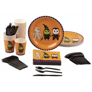 Disposable Dinnerware Set - Serves 24 - Halloween Party Supplies with Mummy, Witch and Vampire for Kids, Includes Plastic Knives, Spoons, Forks, Paper Plates, Napkins, Cups