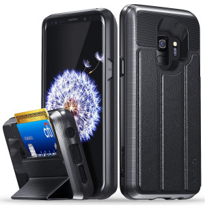 Vena Galaxy S9 Wallet Case, [vCommute][Military Grade  Drop Protection] Flip Leather Cover Card Slot Holder with Kickstand for Samsung Galaxy S9 (Space Gray/Black)