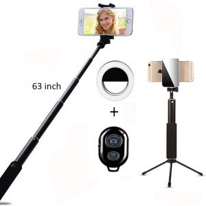 Selfie Stick Bluetooth, 1.6M Extendable Selfie Stick with Ring Light Wireless Remote and Tripod Stand Compatible for iPhone X/8/8 Plus/7/7 Plus/Galaxy S9/S9 Plus/Note 8/S8/S8 Plus/More