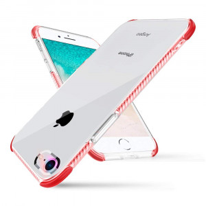 iPhone 8 Case, iPhone 7 Case, Hybrid Drop Protection Flexible TPU Back Soft TPE Inlayer Shockproof iPhone Cover with Air Cushion Bumper for Apple iPhone 8 / iPhone 7 Red