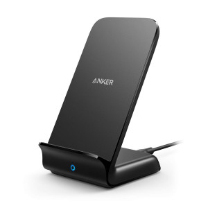 Anker PowerWave Fast Wireless Charger Stand, Qi-Certified, 7.5W Compatible iPhone Xs Max/XR/XS/X/8/8 Plus, 10W Charges Galaxy S9/S9+/S8/S8+/Note 8 5W Charges All Qi-Enabled Phones (No AC Adapter)