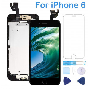 "Screen Replacement for iPhone 6 Black 4.7"" Inch LCD Display Touch Digitizer Frame Assembly Full Repair Kit,with Home Button,Proximity Sensor,Ear Speaker,Front Camera,Screen Protector,Repair Tools"
