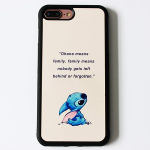 Lilo and Stitch Quote Art Case for iPhone 7 Plus / 8 Plus (5.5 Inch) Comic TPU Silicone Gel Edge + PC Bumper Case Skin Protective Custom Designed Printed Phone Protector Full Protection Cover