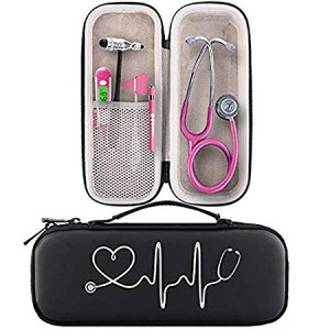 BOVKE Travel Carrying Case Compatible 3M Littmann Classic III Stethoscope - Extra Room for Taylor Percussion Reflex Hammer and Reusable LED Penlight, Black