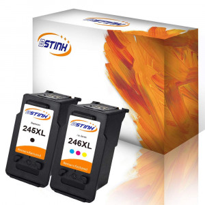BSTINK Remanufactured for Canon PG-245XL CL-246XL Ink Cartridge High Yield,1 Black 1 Tri-Color,Shows Accurate Ink Level Used in Canon PIXMA MG2520 MG2522 MG2920 MG2922 MG2924 MG2420 MX490 MX492 IP2820