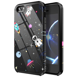 PBRO iPhone 5 Case,iPhone 5s Case,iPhone se Case,Cute Astronaut Case Dual Layer Soft Silicone and Hard Back Cover PC+TPU Protective Anti-Scratch Shockproof Case for Apple iPhone 5/5s/se Spcae/Black