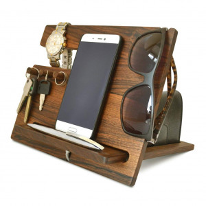 Wood Phone - Docking Station Walnut Hooks Key - Holder Wallet - Stand Watch - Organizer MyFancyCraft Compatible with Any Phone