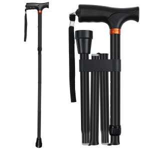 """Saymeto Folding Cane, Lightweight Walking Cane for Men and Women and Ladies, Adjustable Walking Stick Mobility Aid, Comfortable Handles, Black (33""""-37"""")"""