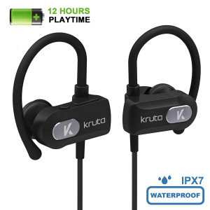 Kruta Sport Bluetooth Headphones, 12 Hours Playtime IPX7 Waterproof Earbuds In Ear Bluetooth 4.1 Stereo Earphones HD Noise Cancelling Headset w/Mic for Gym, Running, Workout