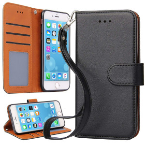 iPhone 7 Case, iPhone 8 Case, OKILA Book Style Slim Wallet Case Kickstand Feature Card Slot Apple iPhone 7/8 Phone Leather Case Cover (Black)