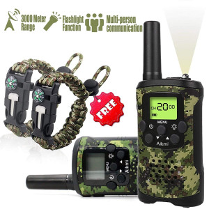 Aikmi Kids Walkie Talkies Set - Walkie Talkies for Kids 2 Way Radio Toy Birthday Gift for 4-8 Year Old Boys and Girls Fit Games, Adventure and Camping. Strap and Paracord Bracelet Included. (Camo)