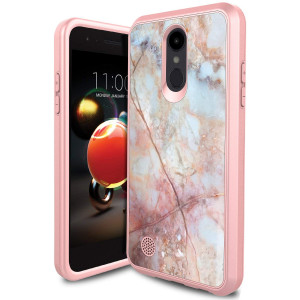 LG Rebel 3 Phone Case, LG Aristo 2 Case, LG Tribute Dynasty Case, LG Zone 4 Case PURSQ Slim Dual Layer Hybrid Shockproof Defender Protective Armor Cover (Rose Gold-2)