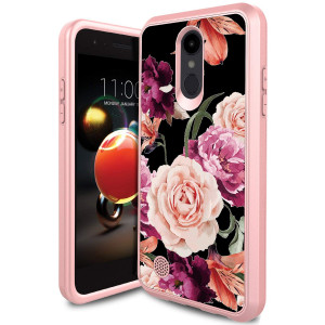 LG Aristo 2 Plus Case, LG Rebel 3 Phone Case, LG Aristo 2 Case, LG Tribute Dynasty Case, LG Zone 4 Case PURSQ Slim Dual Layer Hybrid Shockproof Defender Protective Armor Cover (Rose Gold-1)