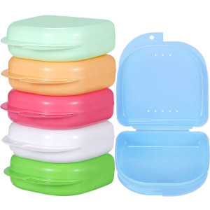 Gejoy 6 Pieces Retainer Case Mouth Guard Case Orthodontic Denture Storage Container