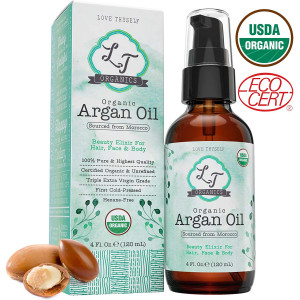 100% Pure Moroccan Argan Oil 4oz. Cold-Pressed and Triple Extra-Virgin Grade  A to Promote BEST Growth for Dry and Damaged Hair. Natural Treatment for Anti-Aging Skin, Nails, Foot and Beard Care