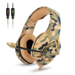 Gaming Headset - Onikuma K1-B 3.5mm Over-ear Stereo Gaming Headphones with Mic,Noise Reduction,Volume Control, Foldable Earphones for Xbox One/PS4/CF/Laptop/Smartphone(Camo Green)