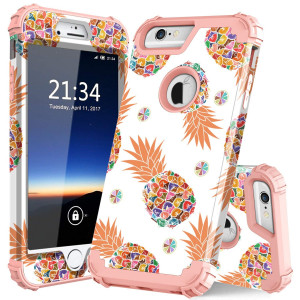 iPhone 6 Plus Case,iPhone 6s Plus Case PIXIU Unique Three Layer Heavy Duty High Impact Resistant Hybrid Protective Marble Cases For iPhone 6 Plus/6s Plus Pineapple