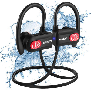 Bluetooth Headphones IPX7 Waterproof, Wireless Sport Earphones Bluetooth 4.1, Richer Bass Wireless Earbuds with Mic, Noise Cancelling Headset for Workout, Running, Gym, Carrying Bag, 10 Hrs Play Time