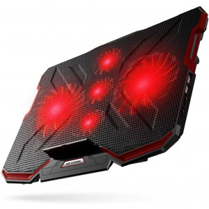 5 Fans Laptop Cooling Pad, Portable Ultra-Slim Laptop Cooler, with Red LED Light, Dual USB 2.0 Ports, Adjustable Mount Stand, Super Quiet and Strong Wind Speed Designed for Gamers and Office