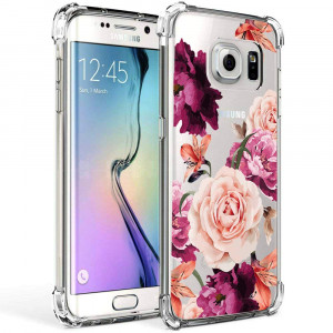 Galaxy S7 Edge Case Girls Women Clear Flowers Design Shockproof Protective Cell Phone Cases Samsung Galaxy S7 Edge 5.5 Inch Cute Floral Pattern Print Flexible Slim Fit Bumper Rubber Cover