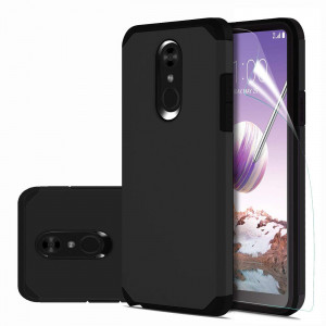 LG Stylo 4 Case with HD Screen Protector,LG Q Stylus//LG Q Stylus Plus//LG Stylus 4//LG Stylus 4 Plus Case Ucc Frosted Shield Slim Cover Carbon Fiber Design and Non-Slip Cover for LG Stylo 4 Black