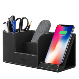 EasyAcc Wireless Charger with Desk Organizer Wireless Charging Station for iPhone X 8 Plus and Samsung S7 Edge S8 Plus S9 Plus Note 8 and More, Storage Caddy Pen Pad Holder