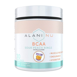 Alani Nu BCAA Branched Chain Essential Amino Acids Powder, Sour Peach Ring, 30 Servings