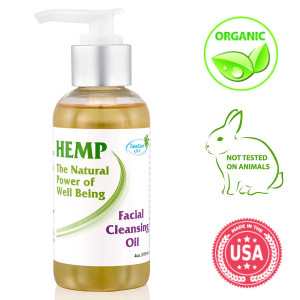 Natural Organic Facial Cleansing Oil - Gentle Face Wash and Makeup Remover Rich in Vitamin C, E, Hemp Seed Oil and Herbal Oils - Daily Anti Aging Anti Wrinkle Skin care for Dry, Sensitive and Oily Skin