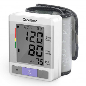 Blood Pressure Monitor-Cocobear Wrist Blood Pressure Cuff Type Monitor with Large LCD Display, 2 Users Mode Clinically Accurate Measurement, Heartbeat Rate Detection, FDA and CE Approved