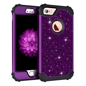 Pandawell Compatible iPhone 6s Case, iPhone 6 Case, Glitter Sparkle Bling Heavy Duty Hybrid Sturdy Armor High Impact Shockproof Protective Cover Case Apple iPhone 6s/6, Shiny Purple/Black